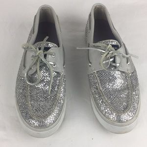 Sperry top slider silver snake print boat shoes-8